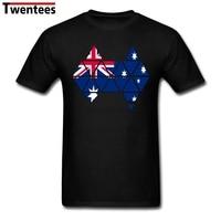 Customized Round Neck 100 Cotton Australian Flag Australia Map Men Short T Shirt Large Size Boys