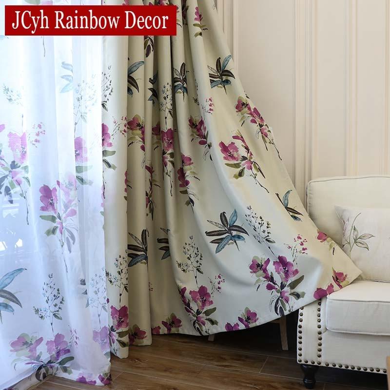 Purple Floral Blackout Curtains For Living Room Bedroom Modern Window Short Curtain For Kitchen Tende Gordijnen Rideaux Voilage