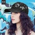 Senhora Primavera e No Verão Chapéu de Basebol Fêmea Lazer Moda Chapéu de Lantejoulas Mulheres Pico chapéu de Sol Cap Flor Decoração B-4584