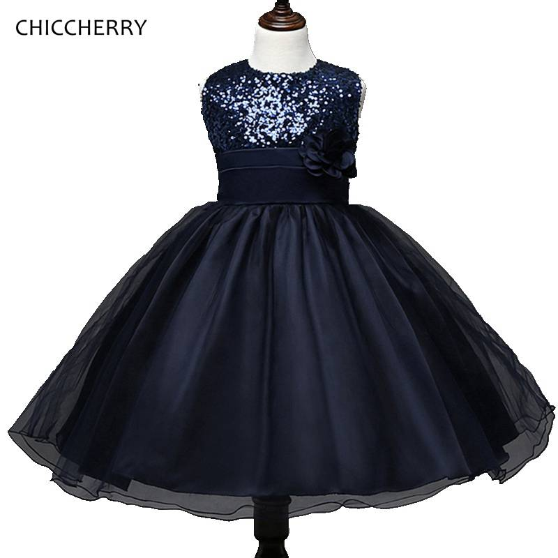Dark Blue Baby Girl Clothing Sequins Kids Party Dress
