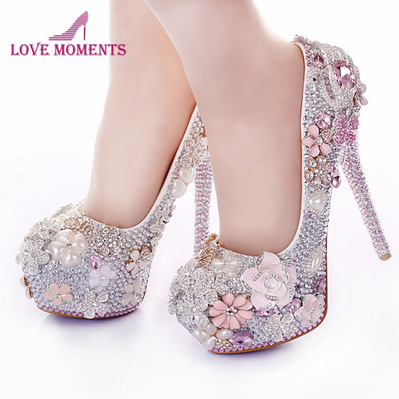 No Heel Wedding Shoes: Rhinestone Flower Pink Wedding Shoes Stiletto Heel 14cm