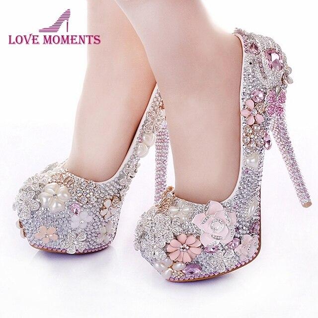 Rhinestone Flower Pink Wedding Shoes Stiletto Heel 14cm Crystal 2018 Bridal Prom Bridesmaid For Mermaid