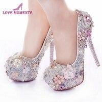 Rhinestone Flower Pink Wedding Shoes Stiletto Heel 14cm Crystal 2018 Bridal Prom Bridesmaid Shoes for Mermaid Wedding Dresses