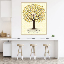 Wedding Guest Book Personalized Wedding Gifts for Guests Lovebird Fingerprint Tree Painting Party Decorations livre d'or mariage(Hong Kong,China)