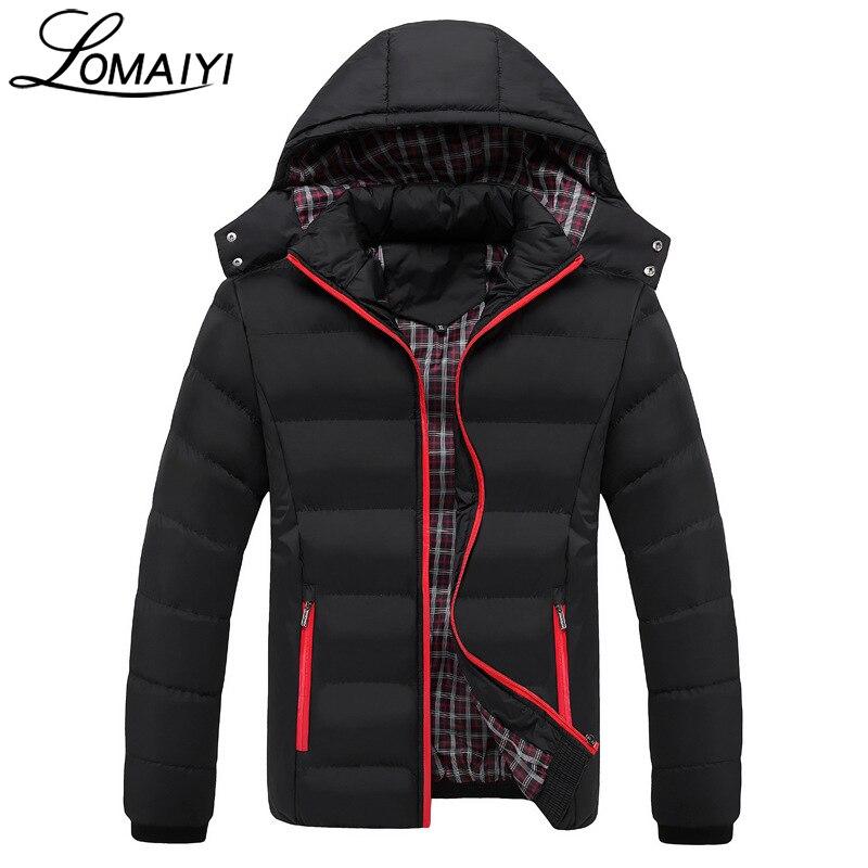 Lomaiyi Новый 2017 Повседневное Для мужчин S зима Куртки съемная ветрозащитная парка с капюшоном Для мужчин модная черная молния стеганая куртка ...
