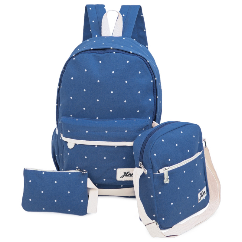 MIWIND 2016 Canvas Cute Dot School Bags Girl For Teenagers Backpack Casual Women 3Pcs Sets Rucksack