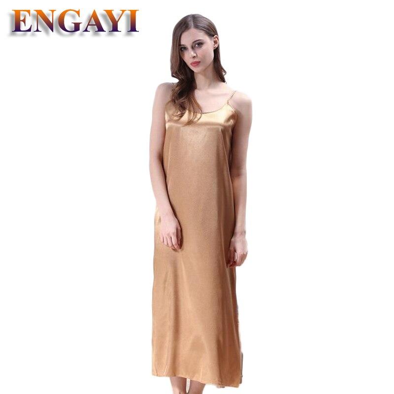 Plus Size XXXL 5 Colors Women Long Nightwear Faux Silk Satin Night Dress Girls Sleepwear Nightgown Nightdress Night Down B276 4