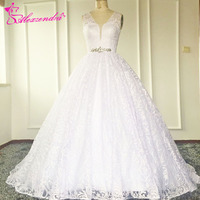 Sexy A Line Lace Wedding Dress See Through Back Beaded Waist Lace Wedding Dresses Bride Dress
