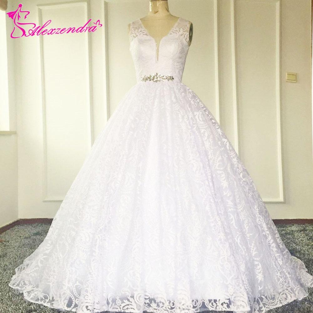 Alexzendra Lace White Ball Gown Wedding Dress See Through Back Beaded Waist Lace Bridal Gown vestido de noiva
