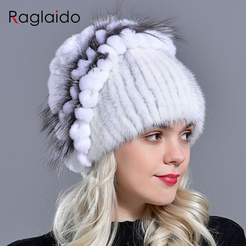 Raglaido Russian Knittd Mink Hats For Women Real Fur Cap With Fox Fur Decoration Floral Beanies Stretched Snow Hat LQ11210