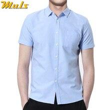 b00cec903c 5XL 7 colores precio barato hombres cortos Camisas verano estilo masculino  collar negocio casual algodón Camisas de traje chemis.