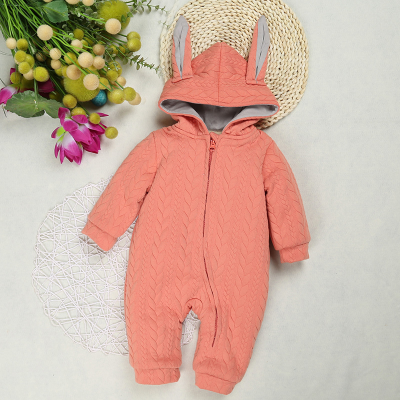 Height 55-85cm Baby Boys Girls Long Sleeve Jumpsuit Outdoor Clothes Children Onepiece Infant Brand Kids Autumn Rabbit Pattern ro