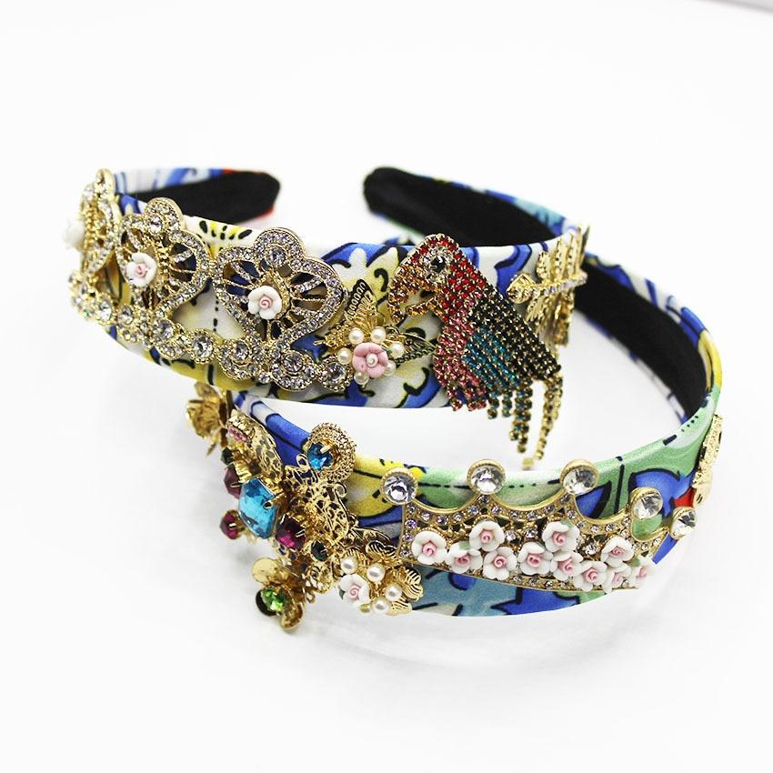 Jeweled Headband Women Baroque Jewel Gem Womens Ceramic Diamond Hairband Fringe Rhinestone 2019 Pearl Hair Accessories