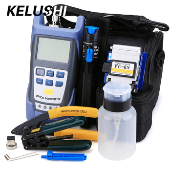 KELUSHI 10pcs/set FTTH Tool Kit with FC-6S Fiber Cleaver and Optical Power Meter 1mW Visual Fault Locator Fiber Optic Stripper