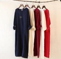 2018 Autumn Winter dress loose long sleeve cotton linen dress,Long Dress Plus Size S 5XL 6XL women clothes Vestido Feminino