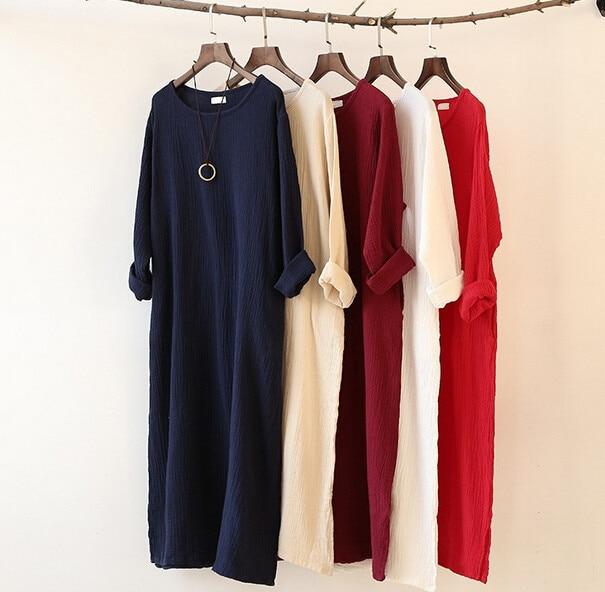 c92c4456b9 2019 Autumn Winter dress loose long sleeve cotton linen dress