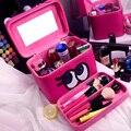 Ventas calientes de la Alta Calidad de Cuero de LA PU Caso Cosmético Profesional Portátil Mujeres Bolsa de Maquillaje Estuche de Maquillaje de Ojos de Dibujos Animados con Compartimento