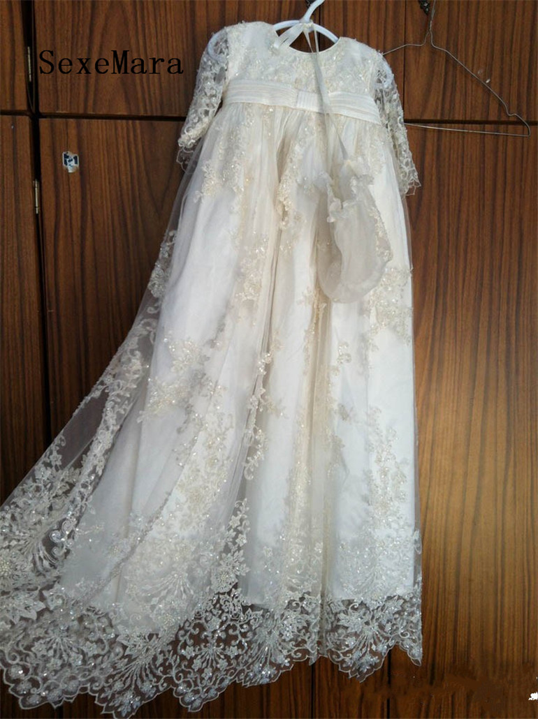 Stunning High Quality Beaded Lace Baby Girls Christening Gown Baptism Dress With Bonnet White Ivory beaded blings appliques lace baby girl white ivory first communion dresses christening gown baptism dress