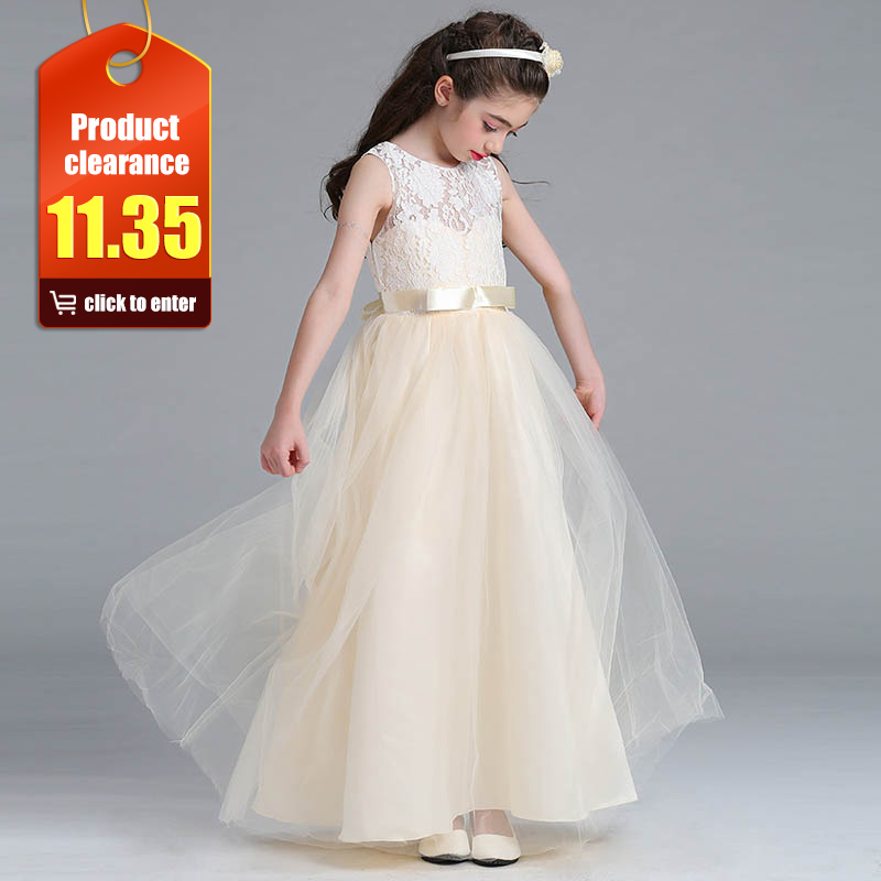 Retail Ruffled High Set   Flower     Girls     Dress   In White   Flowers   With Pearl Kid   Girls   Wedding   Dress   Evening Prom   Dress   LYD004