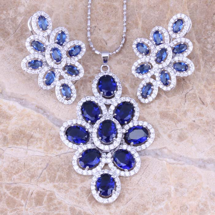 Adorable Blue Cubic Zirconia White CZ 925 Sterling Silver Earrings Pendant Necklace Jewelry Sets S0814