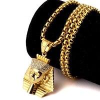 Nyuk new arrival titanium thép vàng ai cập pharaoh vua mặt dây chuyền pha lê chuyền thời trang hip hop trang sức hợp thời trang men gift phụ n