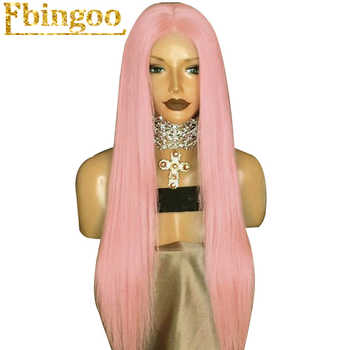 Ebingoo High Temperature Fiber Peruca Perruque Long Straight Pink Synthetic Lace Front Wig With Middle Parting For Women - DISCOUNT ITEM  29% OFF Hair Extensions & Wigs