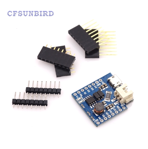 CFsunbird WeMos D1 Mini Battery Shield Lithium Battery Charging Boost With LED Light Module Mini Micro USB Interface For WeMos official doit 5v micro usb 1a 18650 lithium battery charging board with protection charger module