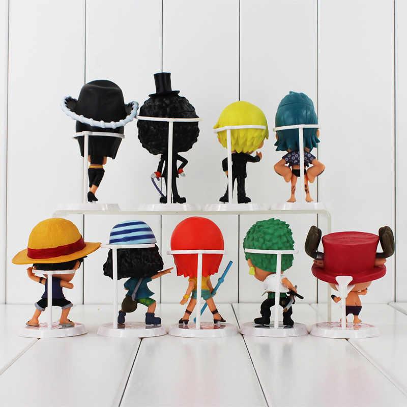 9-12 cm 9 pçs/lote Hot Japonesa Anime One Piece Luffy Chopper Zoro Sanji Nami Robin Figuras de Ação PVC colecionáveis Brinquedos Modelo Boneca