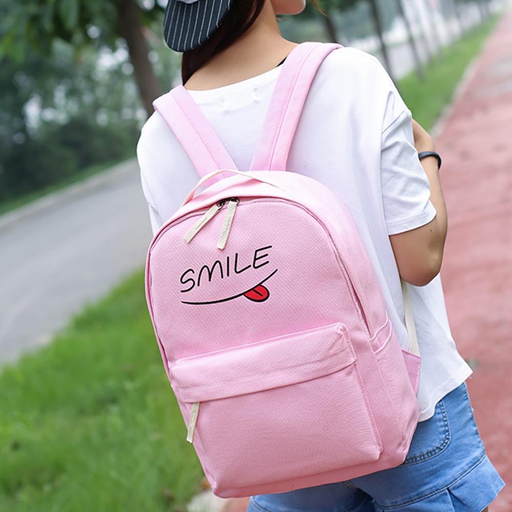 2016 New Fashion Canvas Backpack Rucksack font b Funny b font Smiling Face New Schoolbags Schoolbag