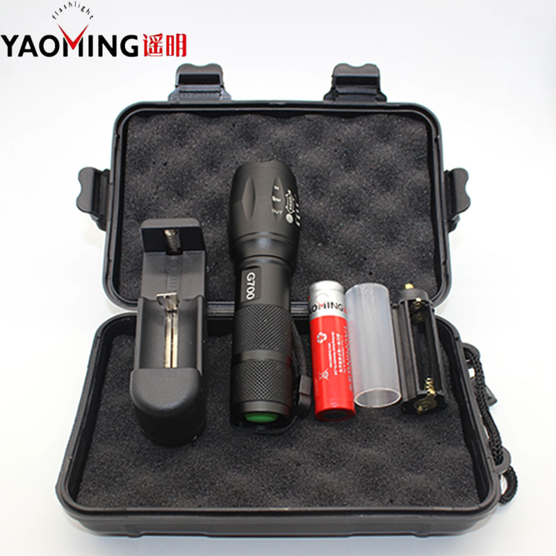 G700 flashlight led set CREE XML T6 3800LM led lamp torch rechargeable linternas 18650 + charger tactical flashlight lanterna crazyfire led flashlight 3t6 3800lm cree xml t6 hunting torch 5 mode 2 18650 4200mah rechargeable battery dual battery charger