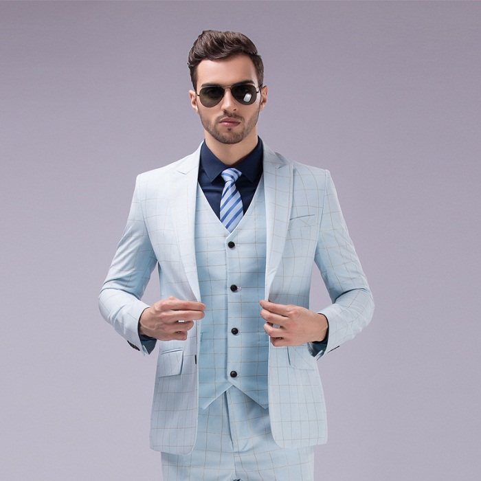 Hot Sale ! New 2015 Luxury Mens Wedding Solid Color Grid Suits ...