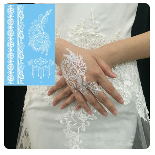 The Most Popular White Henna Tattoo Paste Lace Design Wedding Bride