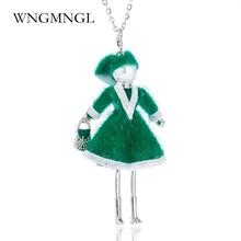 WNGMNGL Handmade Christmas Dance Doll Pendants Necklace Long Green Dress Rhinestone Fashion Women Girl Kids