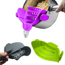 Silicone kitchen strainer clip-on colander Creative kitchen tool for draining liquid Fits all pot size