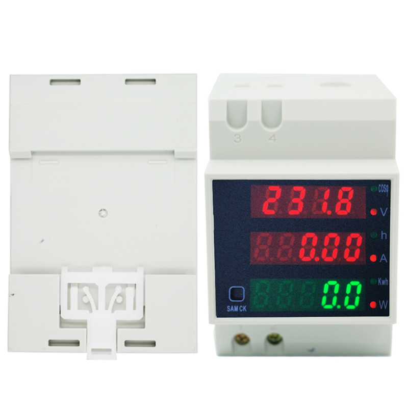 AC 80-300V 0-100.0A Din rail LED volt amp meter ammeter voltmeter active power factor time Energy voltage current 40% off ac 80 300v 0 2 99 9a ammeter voltmeter din rail led volt amp meter display active power power factor time energy voltage current