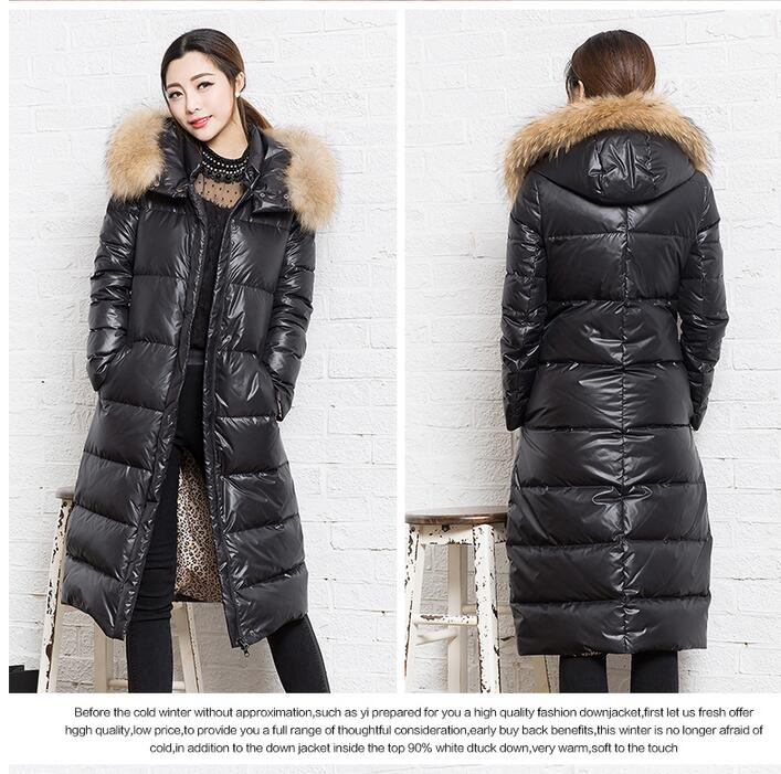 New Fashion Long 90% Duck   Down   Women Winter   Down     Coat   Long   Down   Jackets Winter Women Warm   Down     Coat   Fur Trim Hood   Coat