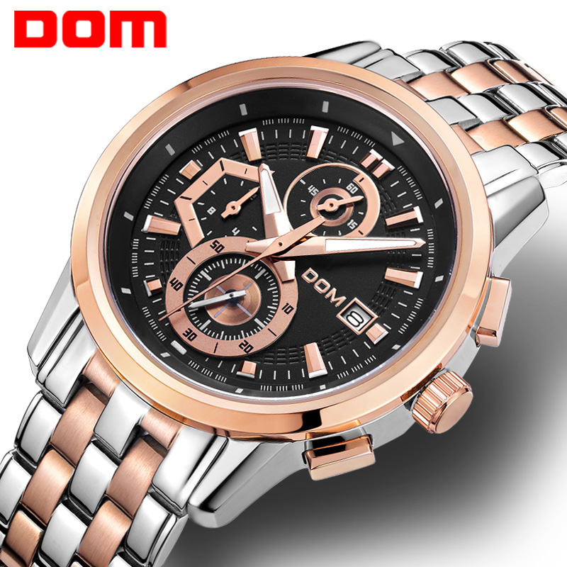 цена на man watch stainless steel DOM Brand sports fashion quartz military chronograph wrist watches men army style M6033G1M