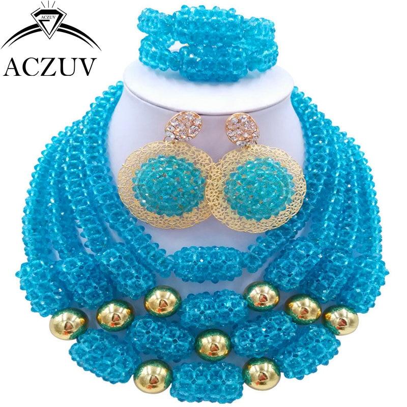 цена ACZUV Latest Lake BLue Crystal African Beads Jewelry Set for Nigeria Wedding D4R016 онлайн в 2017 году