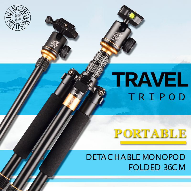 Qingzhuangshidai Q999S Travel Tripod Aluminum Professional Camera 36cm Tripod with Ball head Monopod Q9S Stand Kit