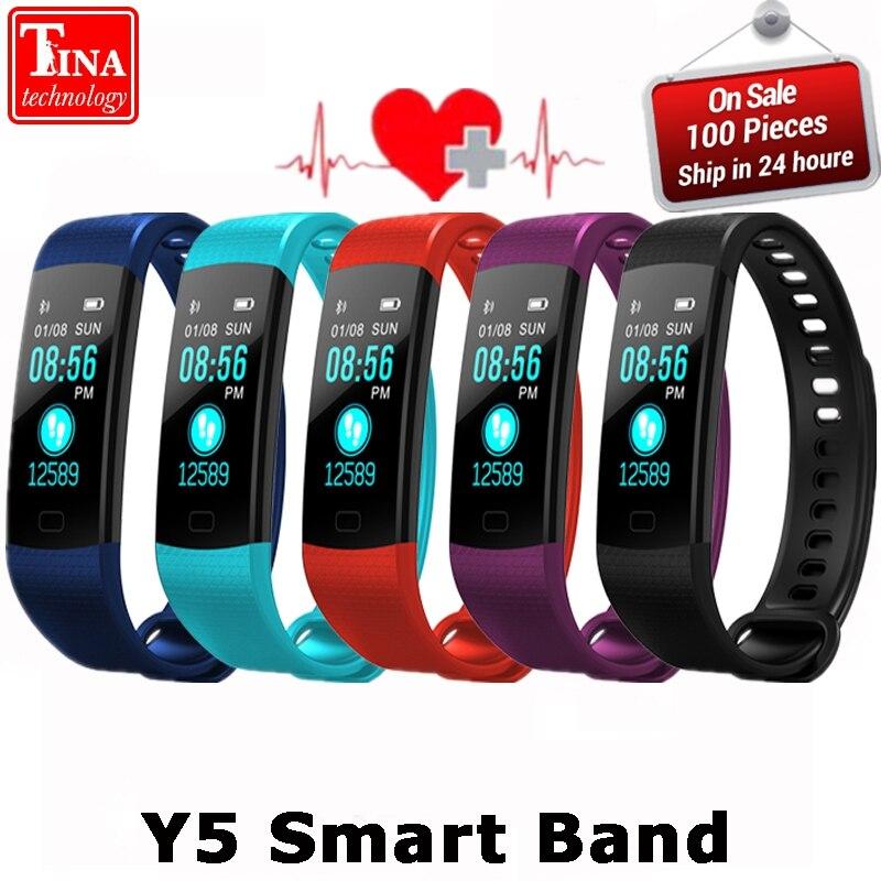 Y5 Astuto Della Vigilanza Della Fascia Schermo a Colori Wristband Heart Rate Attività Fitness tracker Smartband Elettronica Braccialetto VS Xiaomi Miband 2