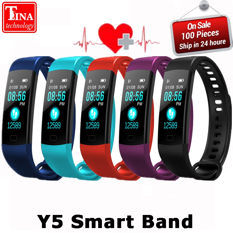 Y5 Smart Band Watch Color Screen Wristband Heart Rate Activity Fitness tracker Smartband Electronics Bracelet VS Xiaomi Miband 2