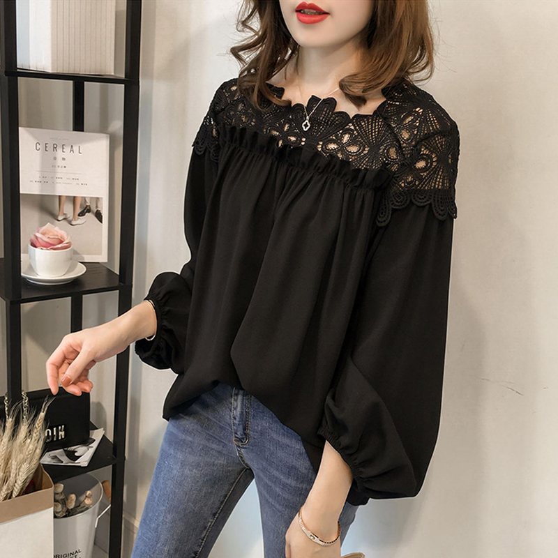 white woman blouses summer women's shirt blouse for women blusas womens tops and blouses lace chiffon shirts ladie's plus size 7