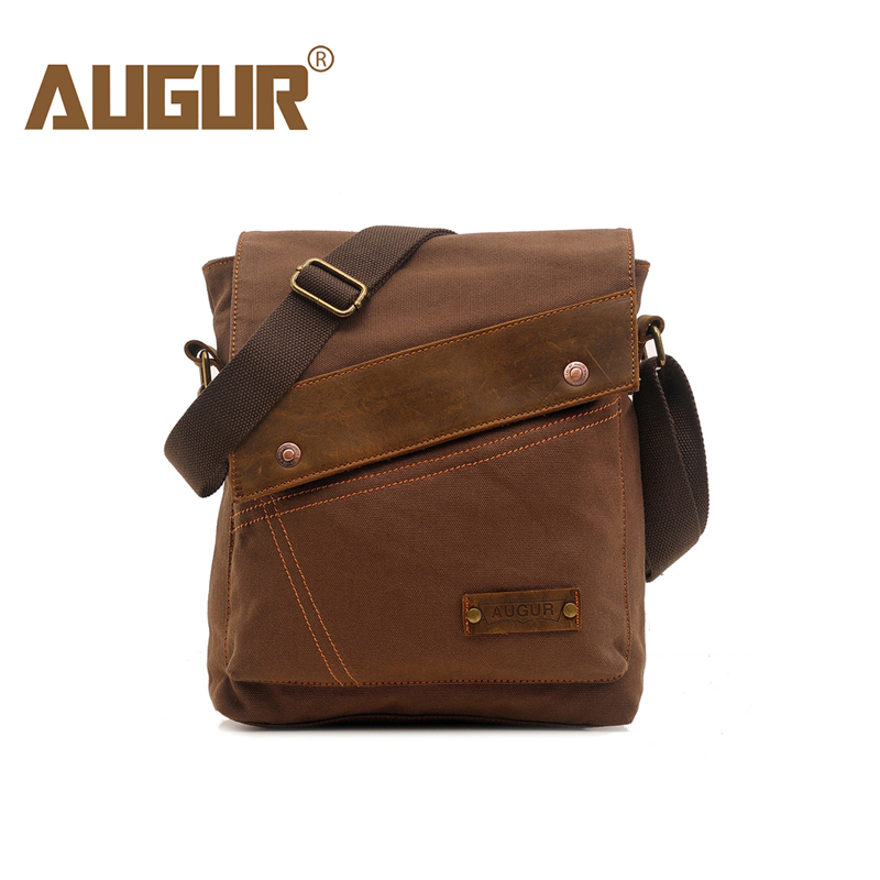 AUGUR Fashion Men Shoulder Bag Leather Canvas Travel Messenger Bag Document Crossbody Bag High quality small Business Men's Bag augur fashion men s shoulder bag canvas leather belt vintage military male small messenger bag casual travel crossbody bags