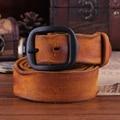 Nuevo manual de la correa de cuero puro cuero de los hombres pin hebilla de cinturón ancho retro neutral ocio cinturón novedad