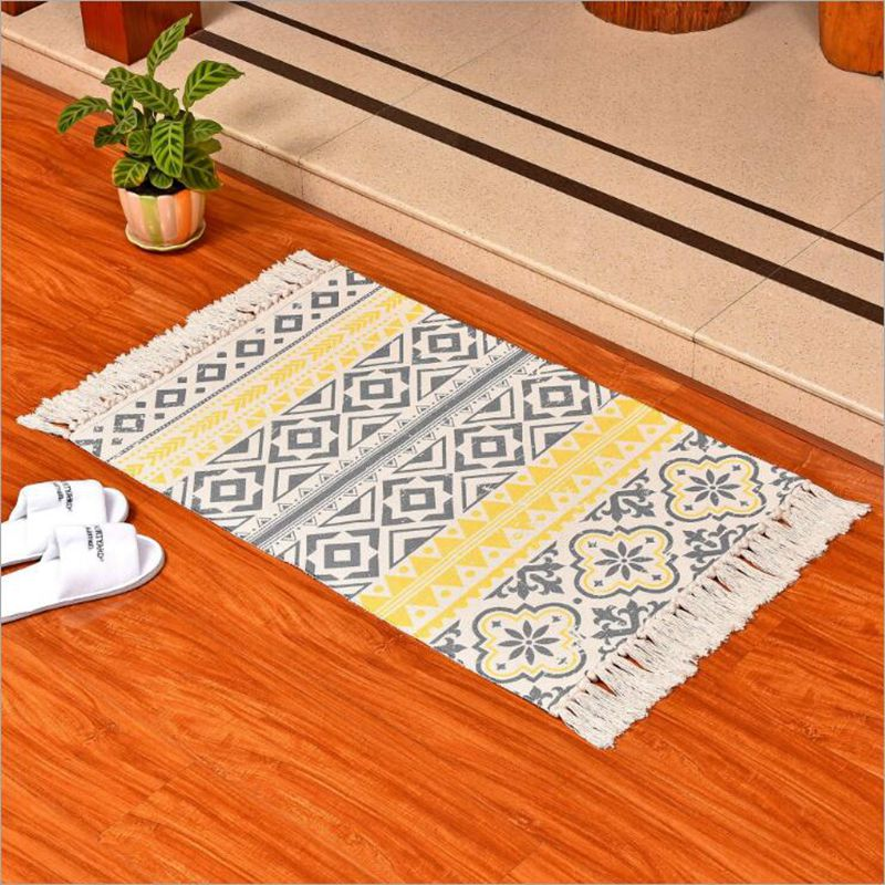 yellow and grey area rug ethnic floral bedroom kitchen
