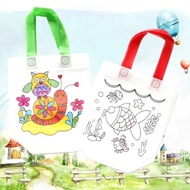 343 39 De Descuento10 Unidspack Diy Bolso De Graffiti Bolsas De Pintura De Tela Para Niños Con Dibujo Para Colorear Juguetes Educativos De