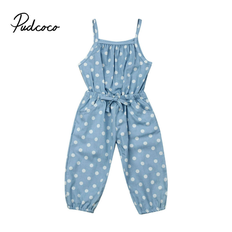 Pudcoco Fashion Toddler Baby Girls Denim Rompers Dot Sunsuit Summer Cotton Off Shoulder Clothes Kids Out Sunsuit Outfits 1-5T