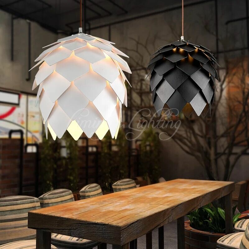 European OAK Pinecone Wood Skrivo Pendant Lights Lamps Vintage DIY Creative  Edison Bulb Japan Rural Suspension