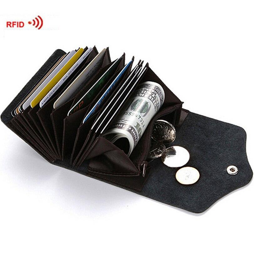 Mode Leder ID Kreditkarteninhaber Visitenkarten Brieftasche Mit RFID Sperrung Mini Brieftasche Männer Frauen Kissen Bargeld-halter-organisator-geldbeutel-beutel