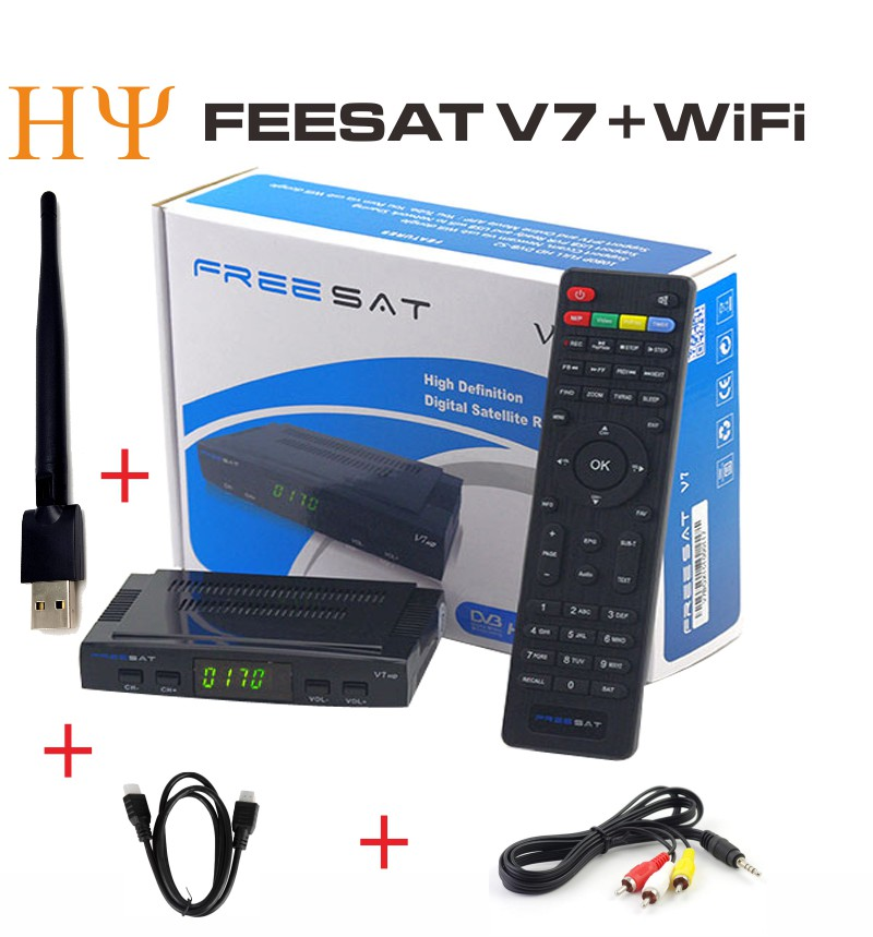 [Genuine]Freesat V7 with Scart Port USB Wifi DVB-S2 HD Satellite TV Receiver Support PowerVu Biss Key Cccamd Newcamd Youporn hellobox gsky v7 5pcs hd powervu autoroll iks ccam dvb s2 receiver tv box better than freesat support tandberg patch